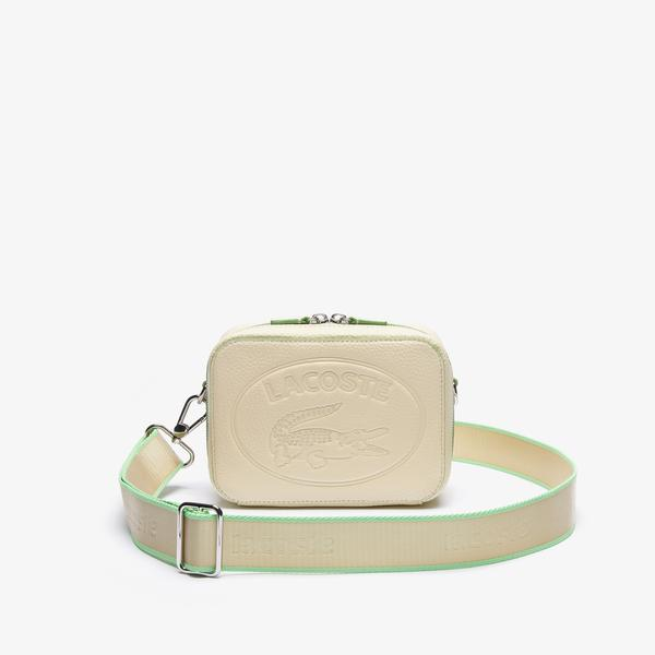 Lacoste Women's Croco Crew Detachable Shoulder Strap Grained Leather Bag