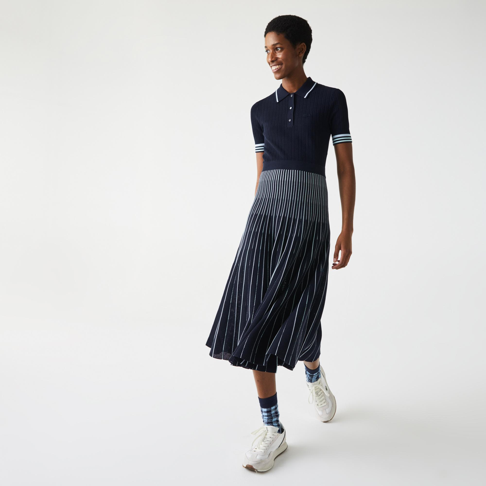 Lacoste Women's Cotton Polo Dress With Pleated Skirt