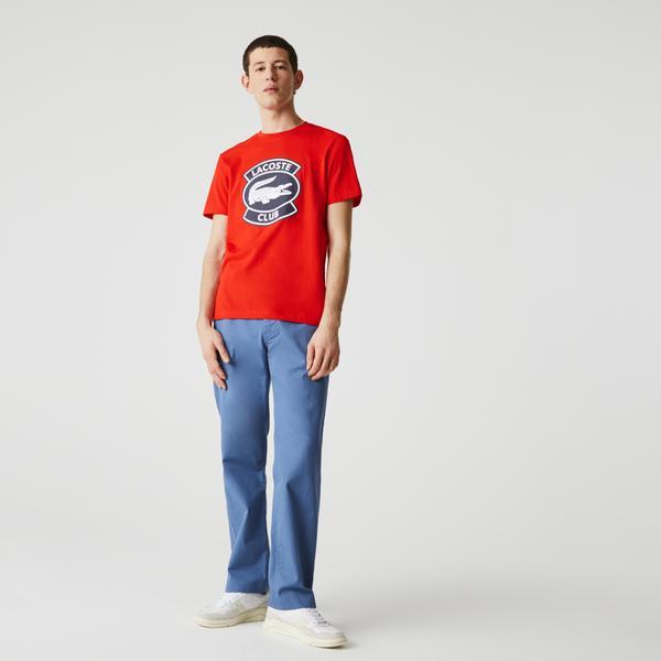 Lacoste Men's Crew Neck Oversized Lacoste Club Badge Cotton T-shirt