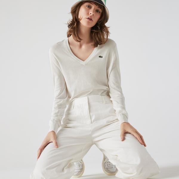 Lacoste Women's V-Neck Loose Organic Cotton Sweater