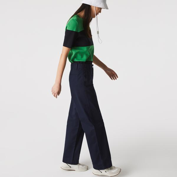 Lacoste Women's Solid High-Waisted Flared Cotton Pants