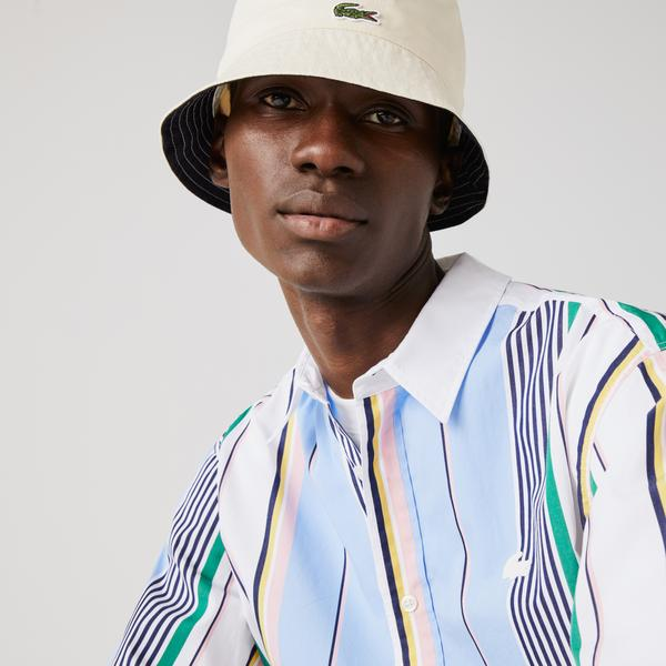 Lacoste LIVE Men's Relaxed Fit Mismatched Stripes Cotton Shirt