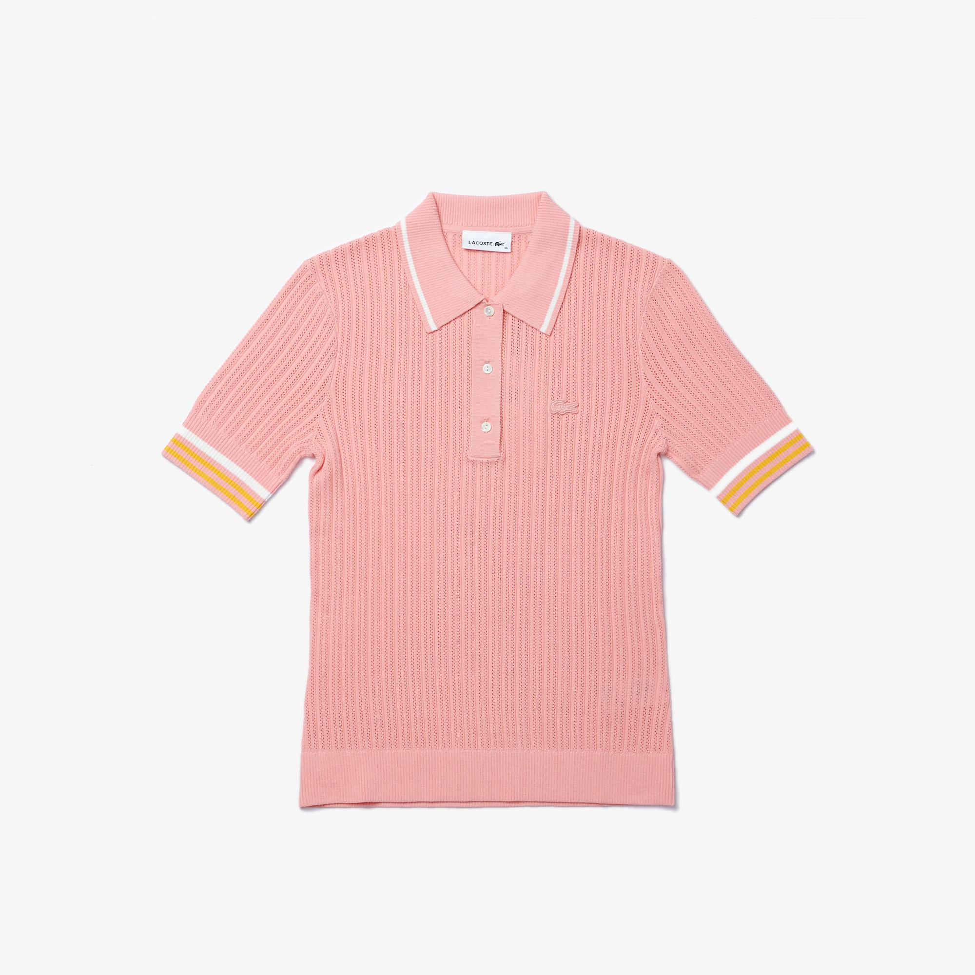 Lacoste Women's Slim Fit Striped Sleeve Knit Polo Shirt