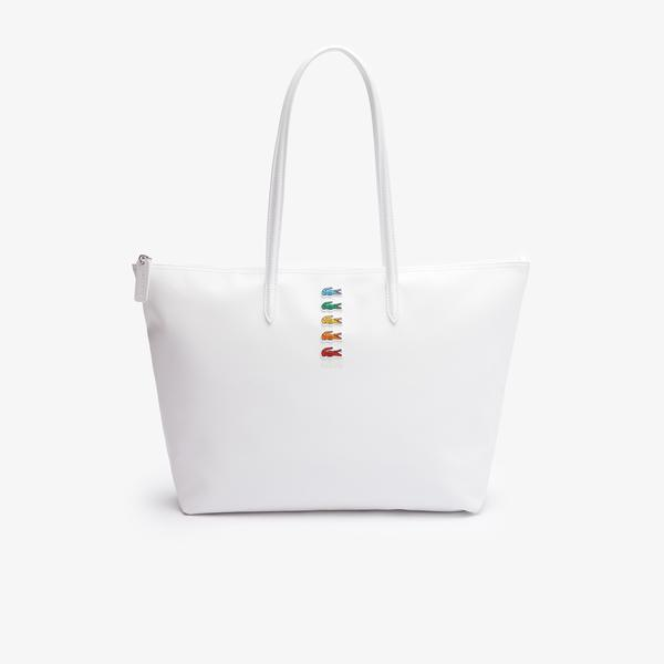 Lacoste x Polaroid Women's Multicolour Crocodiles Tote Bag