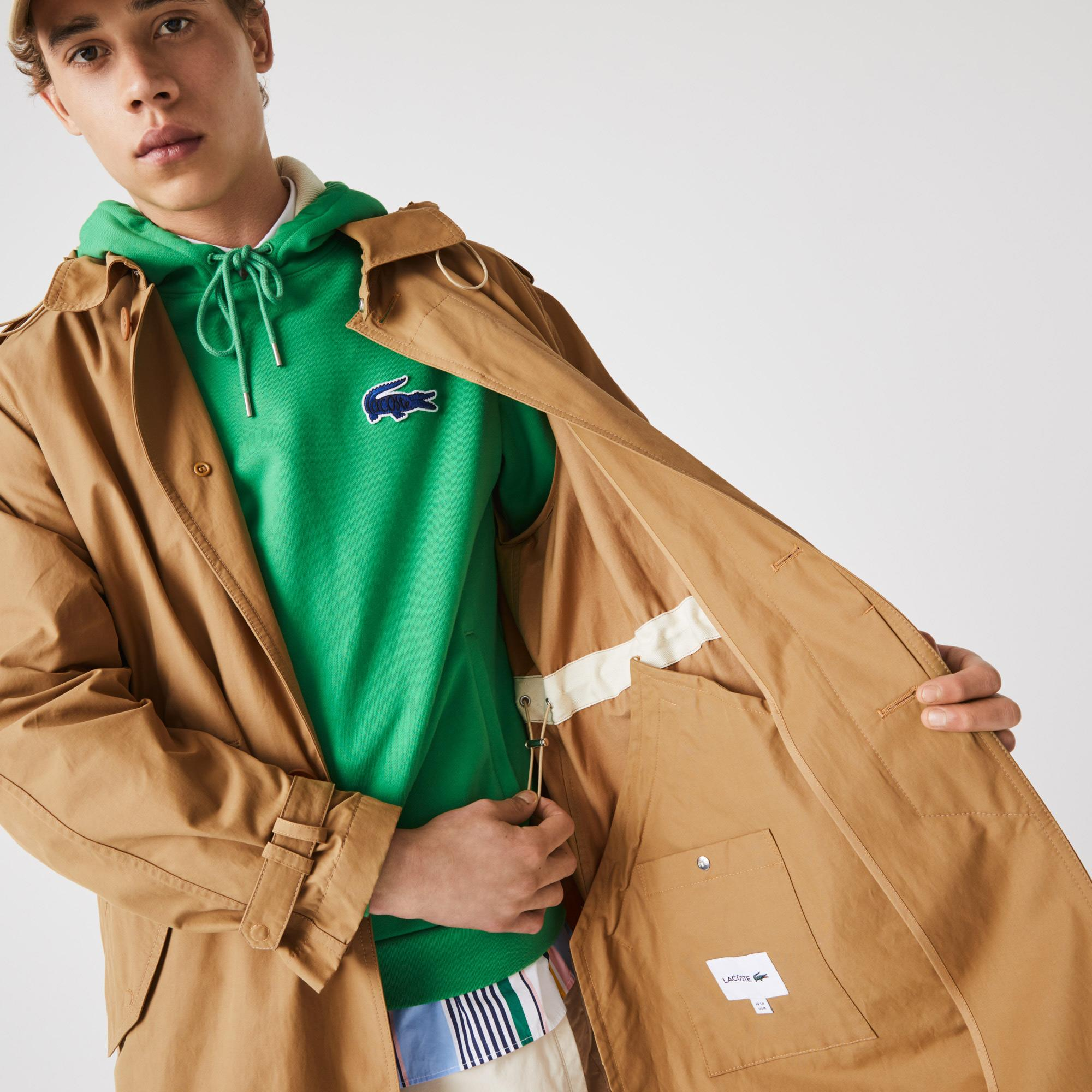 Lacoste Unisex Solid Lightweight Canvas Trench Coat