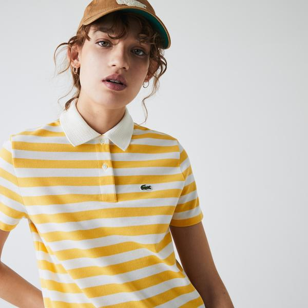 Lacoste Women's Regular Fit Mesh Collar Striped Cotton Polo Shirt