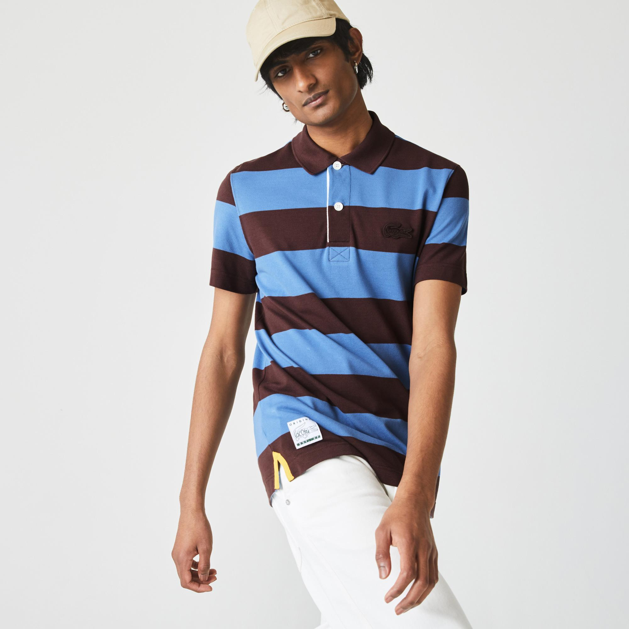 Lacoste Men's Regular Fit Striped Cotton Piqué Polo Shirt