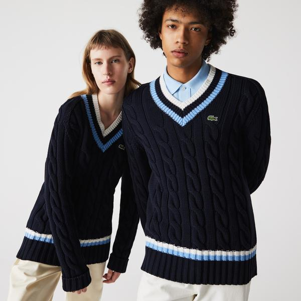 Lacoste Unisex V-neck Striped Finishes Cable Knit Sweater