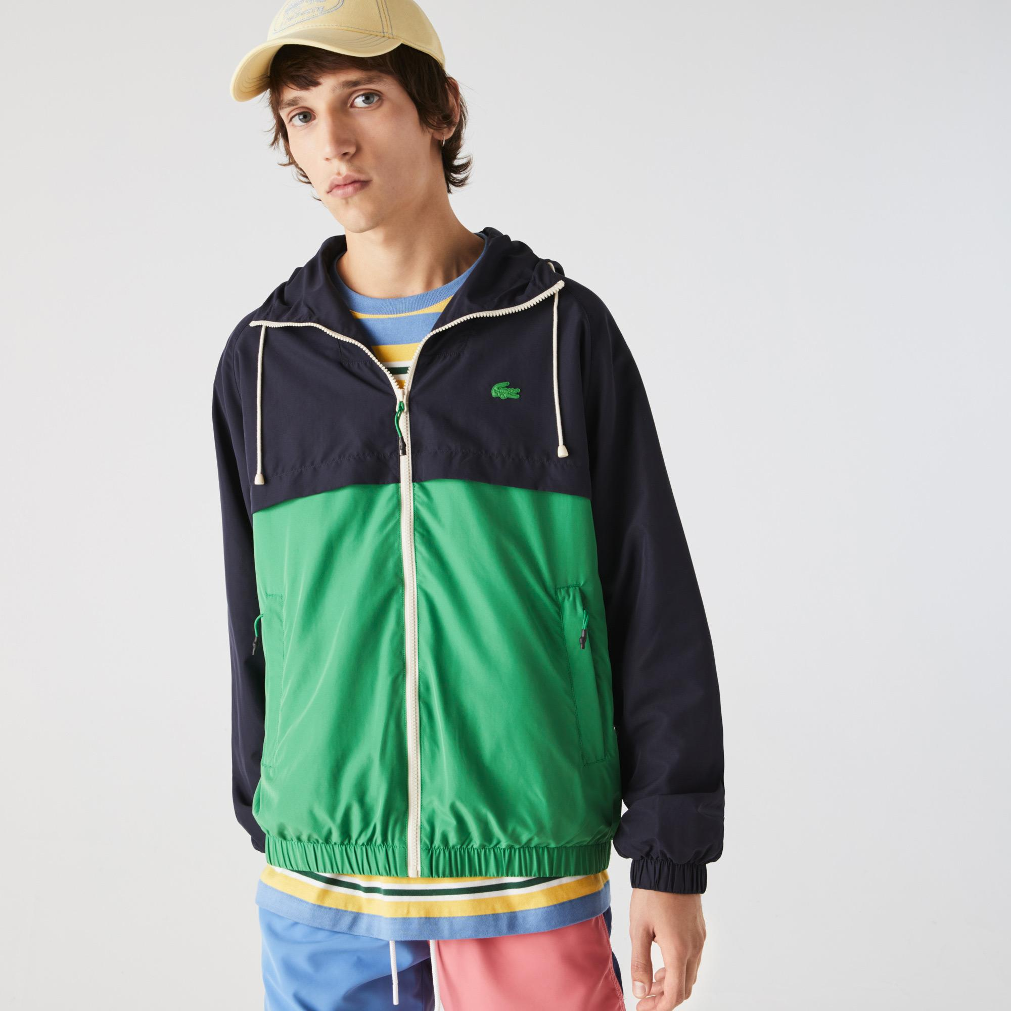 Lacoste Men's Hooded Bicolour Water-Resistant Zip Windbreaker