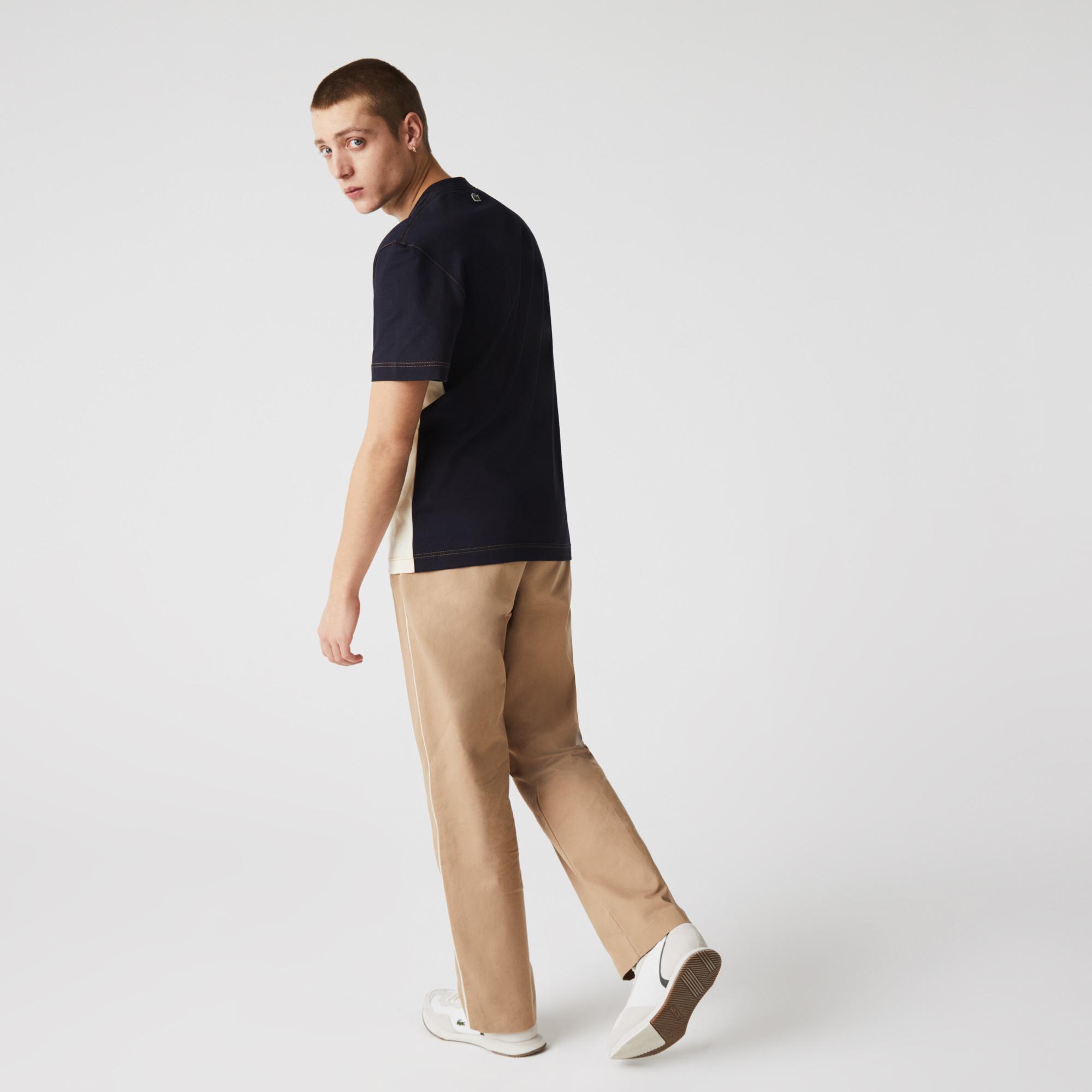 Lacoste Men's Crew Neck Lettered Colorblock Cotton T-shirt