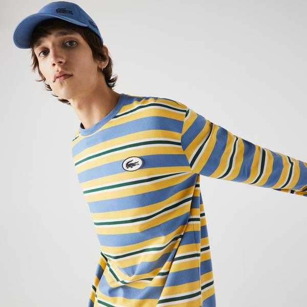 Lacoste Men's Heritage Loose Fit Striped Cotton T-shirt