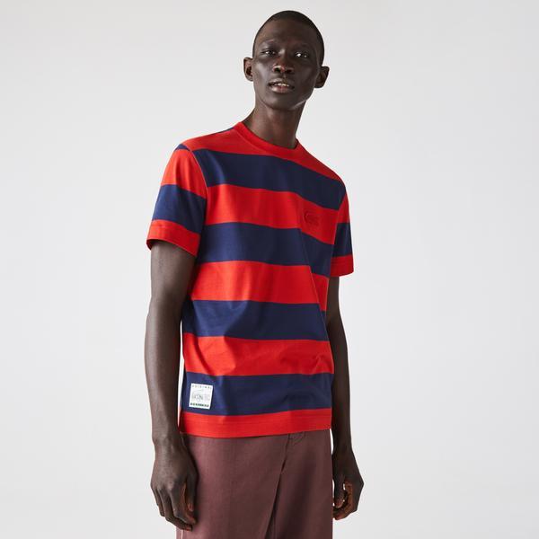 Lacoste Men's Crew Neck Wide Striped Cotton T-shirt