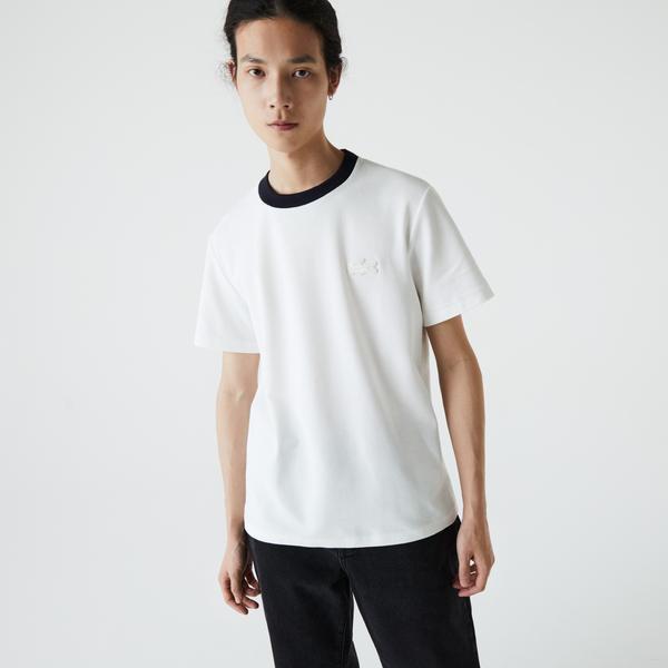 Lacoste Men's Contrast Crew Neck Loose Fit Textured Cotton T-Shirt