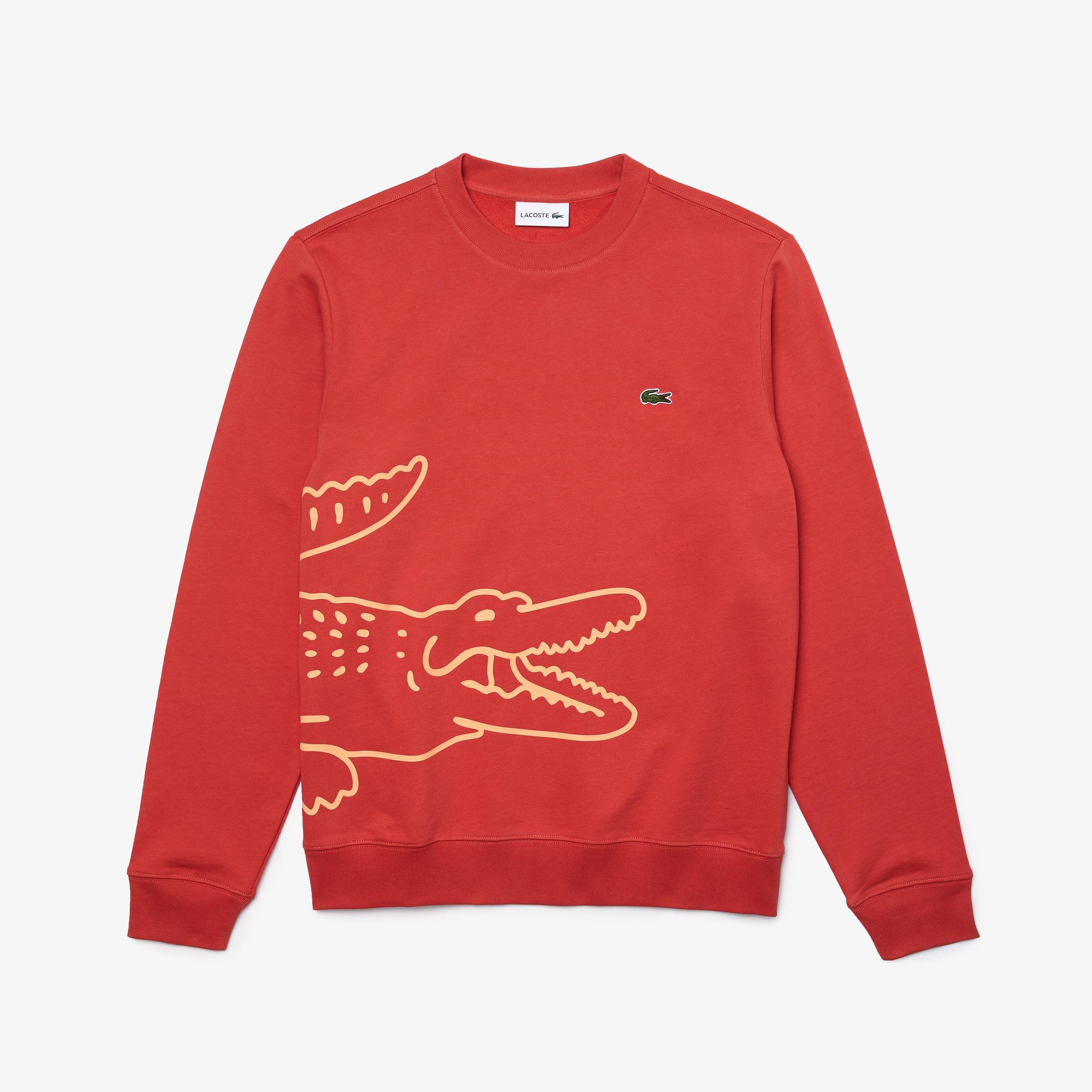 Lacoste Men's Crocodile Print Organic Cotton Fleece Sweatshirt