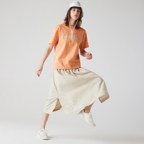 Lacoste Women's Crew Neck Print Lettering Cotton T-shirt