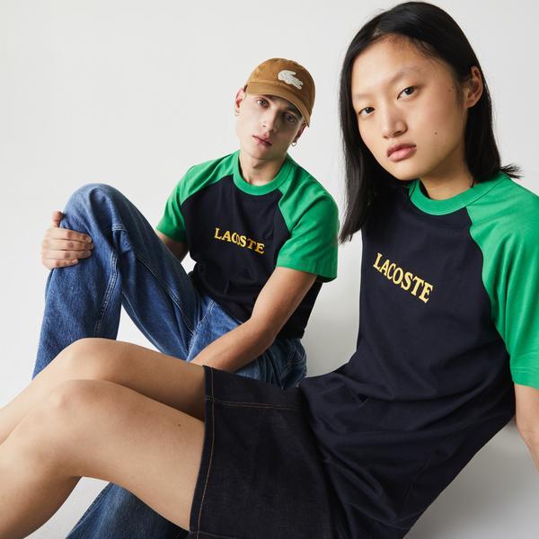 Lacoste Unisex LIVE Lettering Bicolour Cotton T-shirt