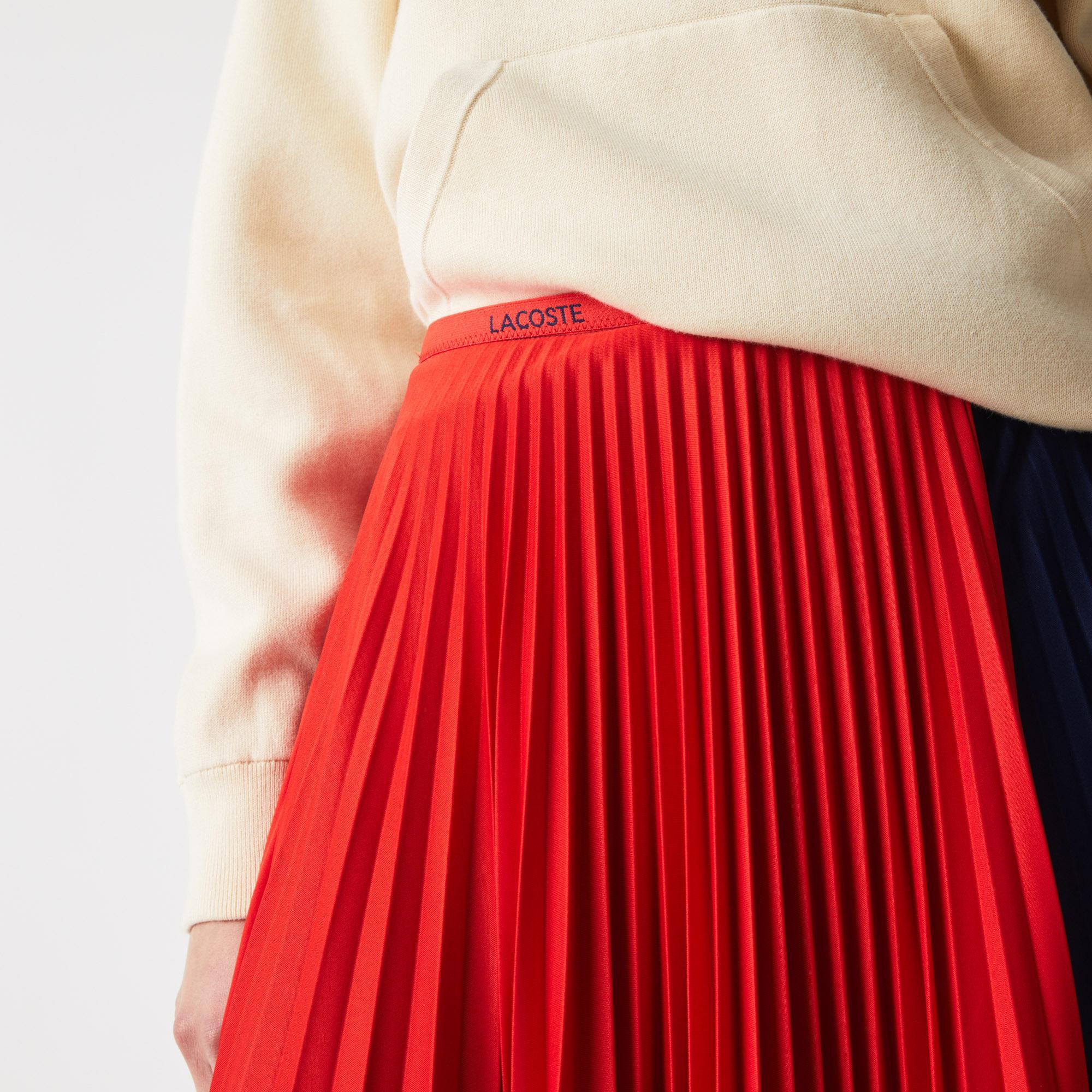Lacoste Women's Mid-Length Colourblock Pleated Skirt