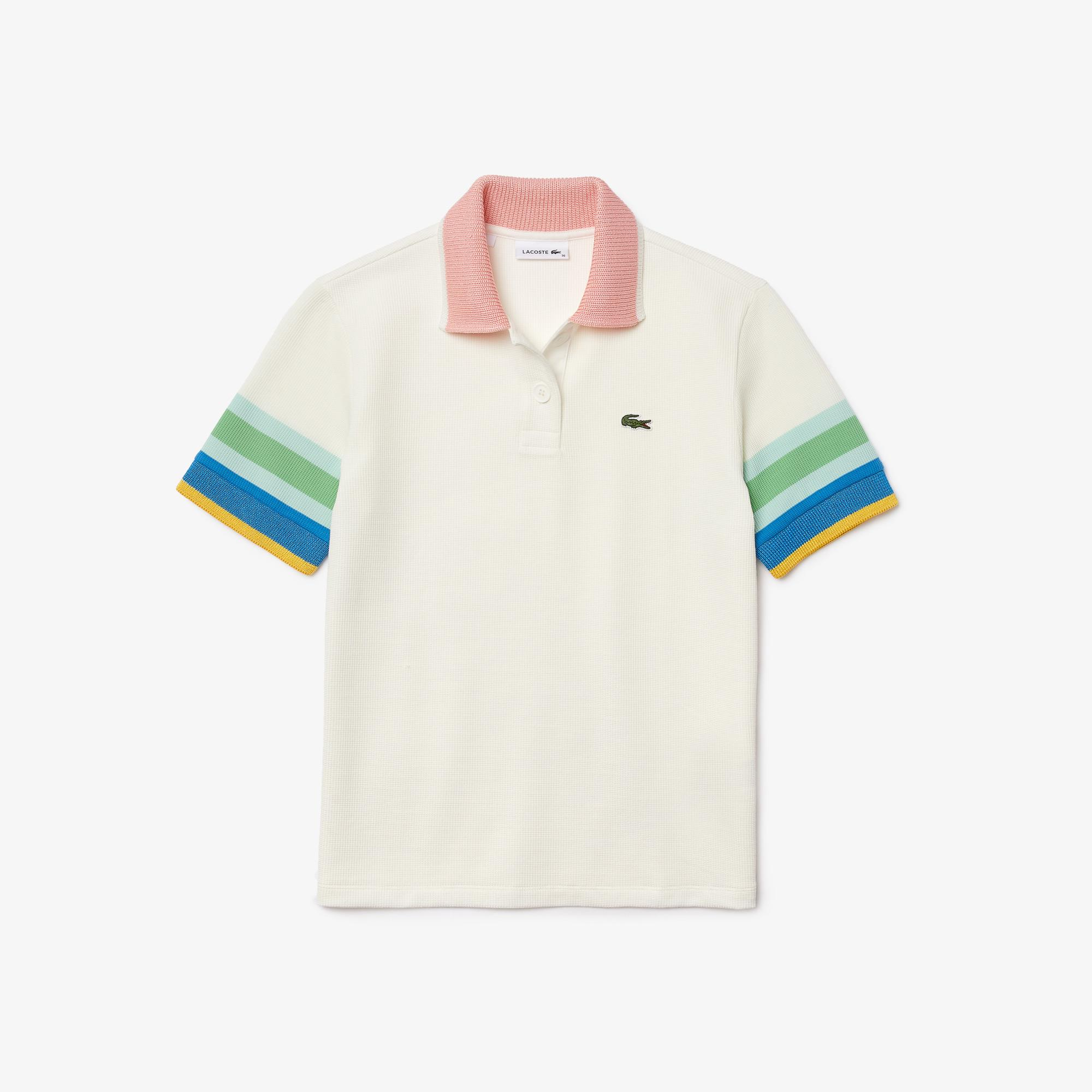 Lacoste Women's Striped Sleeve Textured Cotton Polo Shirt