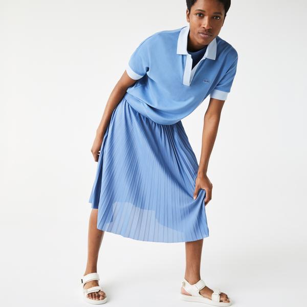 Lacoste Women's Loose Fit Open Collar Flowing Piqué Polo Shirt