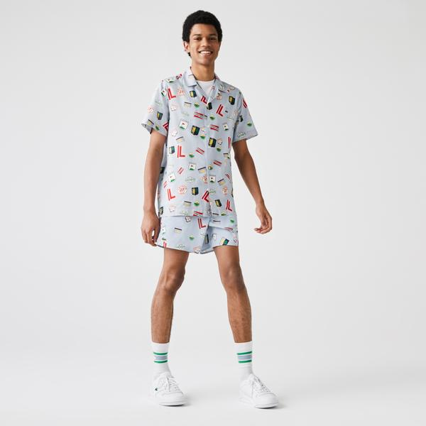 Lacoste Men's Hawaiian Print Cotton Shirt