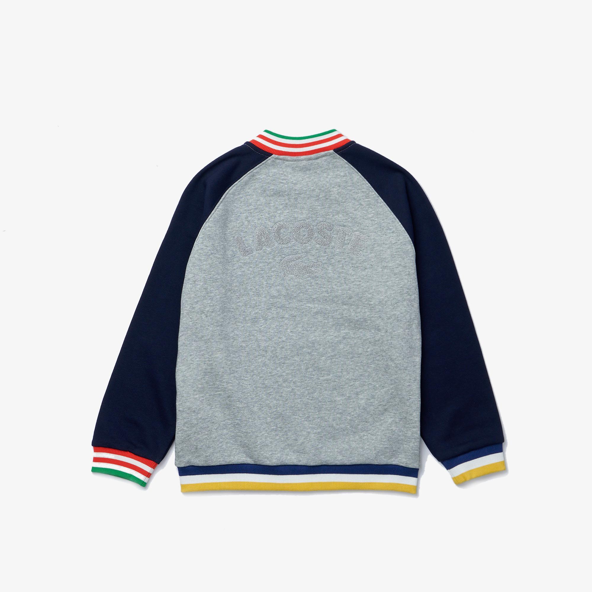 Lacoste Boys Bicolor Striped Accents Fleece Teddy Jacket