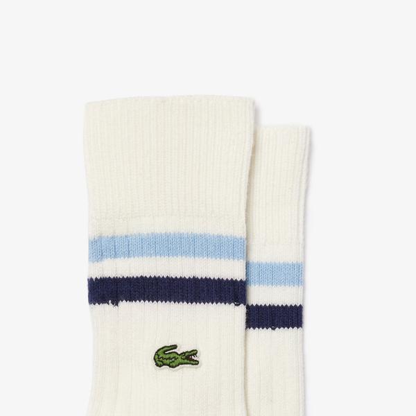 Lacoste Men's Striped Ankle Stretch Cotton Socks