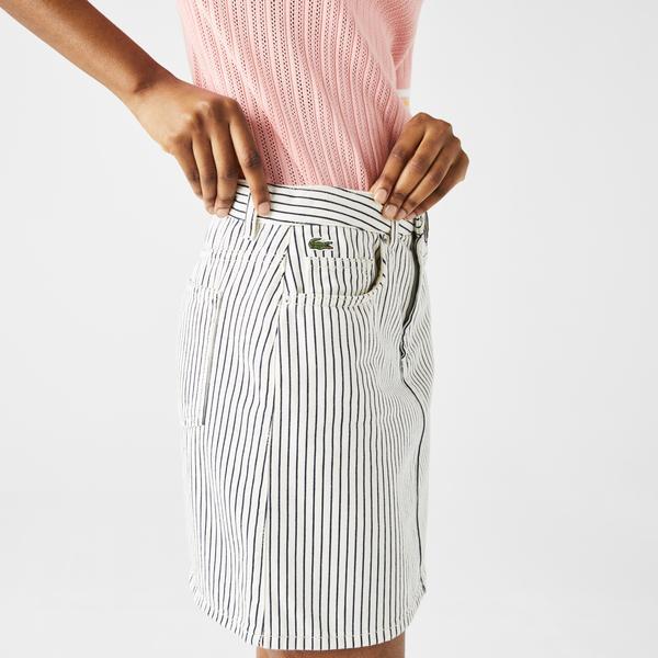 Lacoste Women's LIVE Short Striped Cotton Fabric Skirt