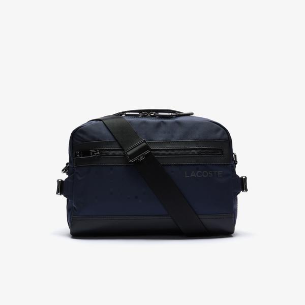 Lacoste Men's L On The Go Shoulder Strap Resistant Canvas Messenger Bag