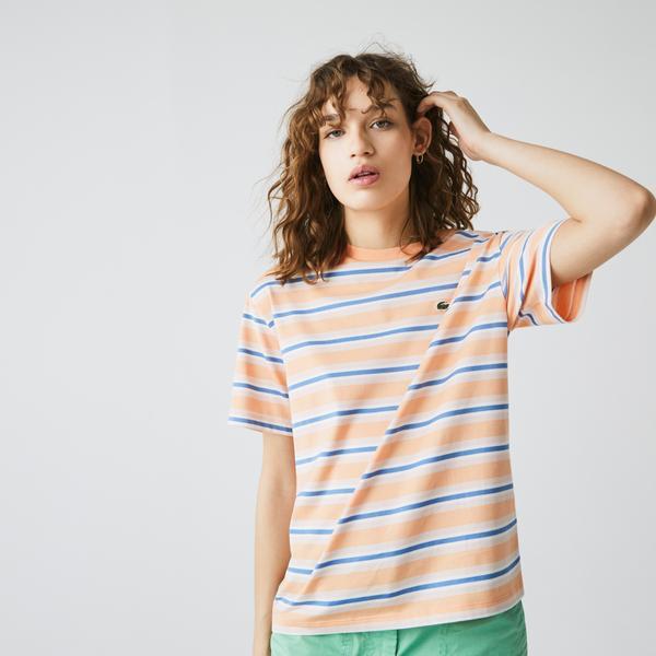 Lacoste Women's Crew Neck Striped Cotton T-shirt