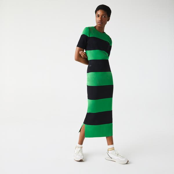 Lacoste L!VE Women's Long Striped Knit Skirt