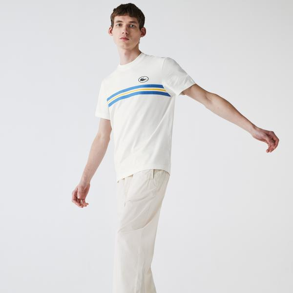 Lacoste Men's Heritage Stripe Band and Badge Cotton T-shirt
