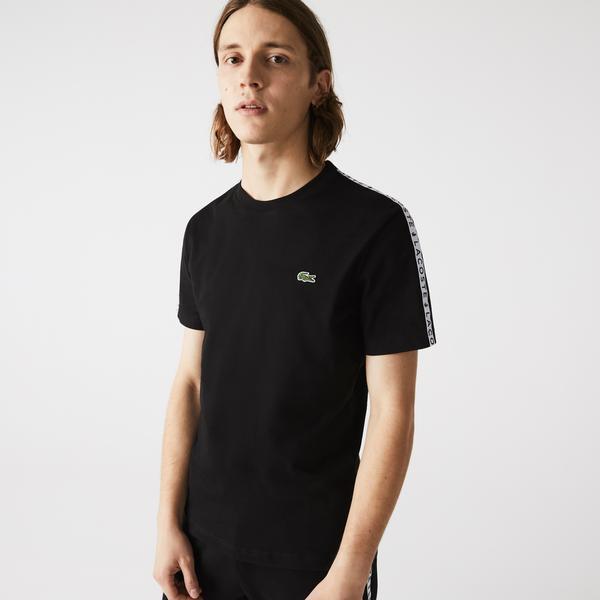 Lacoste Men's Crew Neck Print Striped Cotton T-shirt