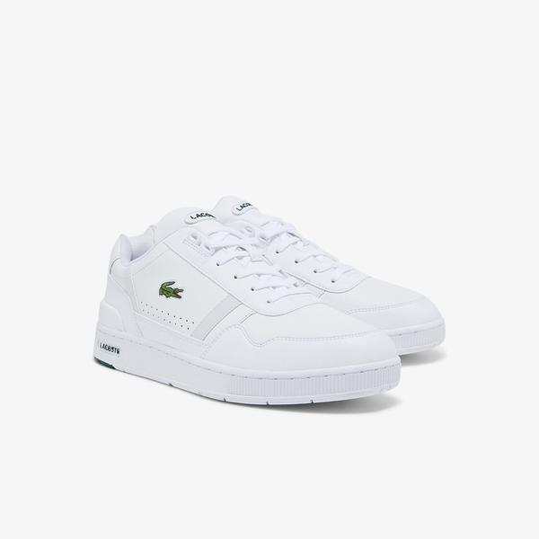 Lacoste Men's T-Clip Leather and Synthetic Sneakers