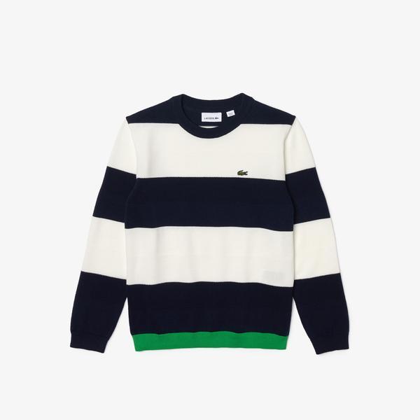 Lacoste Boys' Crew Neck Striped Cotton Blend Sweater