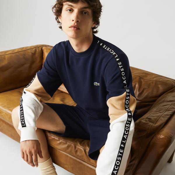 Lacoste Men's Crew Neck Lettered Colorblock Sleeved Fleece Sweatshirt