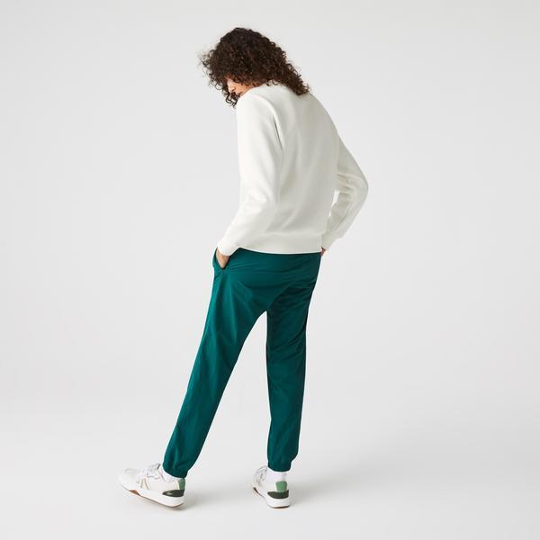 Lacoste Women's Loose Fit Crew Neck Embroidered Fleece Sweatshirt