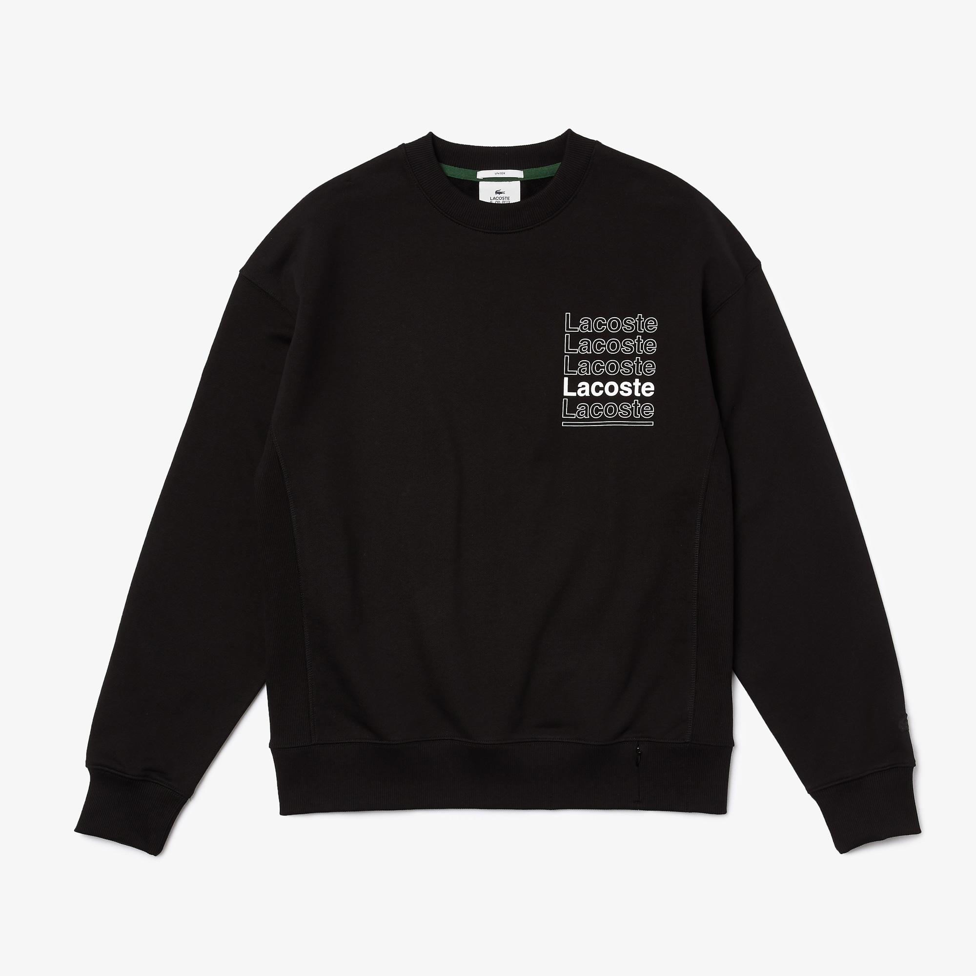 Lacoste Men's L!VE Loose Fit Crew Neck Print Fleece Sweatshirt