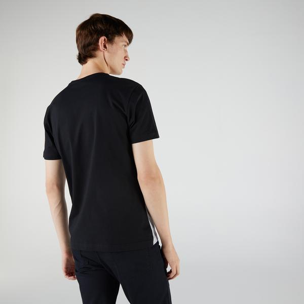 Lacoste Men's Crew Neck 3D Lettered Colorblock Cotton T-shirt
