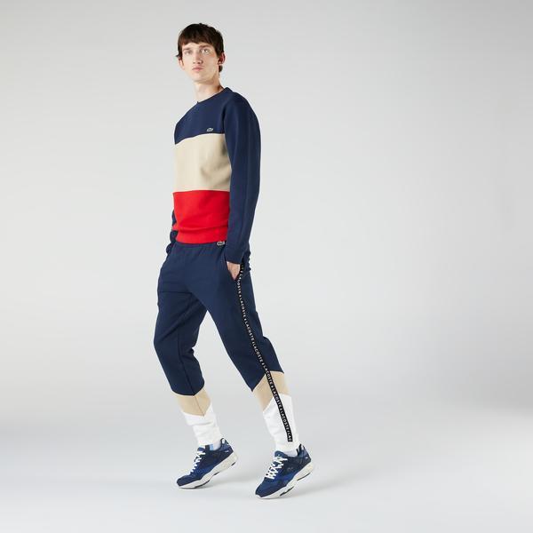 Lacoste Men's Signature Striped Colorblock Fleece Jogging Pants